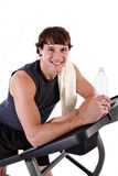 Healthy Young Man Workout on Treadmill Stock Photography