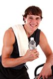 Healthy Young Man Workout on Treadmill Isolated Stock Photos