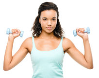 Healthy young mixed race woman exercising isolated on white back royalty free stock photography