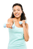 Healthy young mixed race woman exercising isolated on white back stock photo