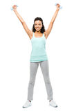 Healthy young mixed race woman exercising isolated on white back royalty free stock images