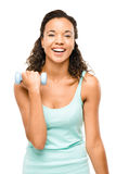 Healthy young mixed race woman exercising isolated on white back Stock Photos