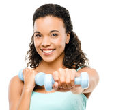 Healthy young mixed race woman exercising isolated on white royalty free stock images