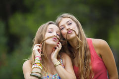 Healthy young teens goofing about. Royalty Free Stock Photo
