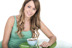Healthy Young Woman With Breakfast Cereals Stock Image