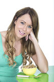 Healthy Young Woman With Breakfast Cereals Stock Photos