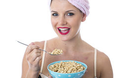 Healthy Young Woman Eating Breakfast Cereals Royalty Free Stock Photo