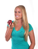 Healthy Young Woman Eating Nutritious Food Royalty Free Stock Photography