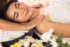 Healthy and young woman is getting spa treatment. Royalty Free Stock Photography