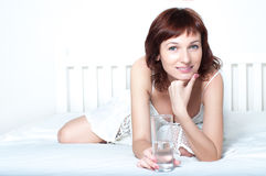Young Woman with glass of fresh Water Stock Image