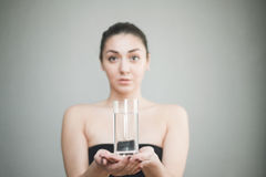 Healthy Young Woman with glass of fresh Water Stock Photo