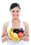 Healthy Young Woman Holding Fruits Stock Images