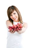 Healthy Young woman holding grapes. Royalty Free Stock Photography