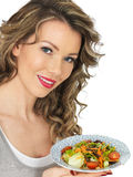 Healthy Young Woman Holding Plate of Mixed Colourful Healthy Salad Stock Photography