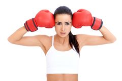 Healthy Young Woman in Red Gloves Royalty Free Stock Images