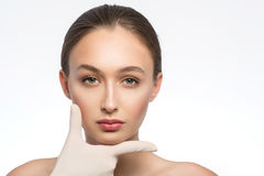 Healthy young woman satisfied of facial treatment Royalty Free Stock Photos