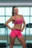 Healthy Young Woman With Six Pack stock images