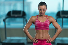Healthy Young Woman With Six Pack stock photos
