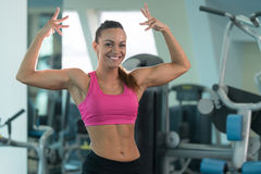 Healthy Young Woman With Six Pack royalty free stock photography