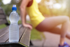 Healthy young woman stretching before fitness and exercise in park, water bottle in focus. Healthy lifestyle concept Royalty Free Stock Images