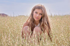 Healthy young woman in summer wheat field stock images