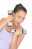 Healthy Young Woman Training With Dumb Bell Weights Royalty Free Stock Image