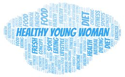 Healthy Young Woman word cloud. Wordcloud made with text only vector illustration