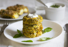 Healthy zucchini cakes. Royalty Free Stock Photo