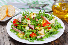 Healthy zucchini summer salad on plate stock images