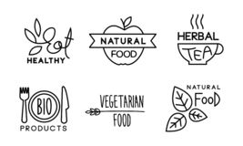 Healty, φυσικός, γραμμικό σύνολο λογότυπων τροφίμων vegetaran, υγιείς οργανικές vegan ετικέτες τροφίμων, εστιατόριο, καφές bagges ελεύθερη απεικόνιση δικαιώματος