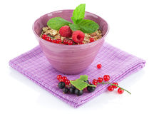Healty breakfast with muesli and berries Stock Photography