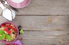 Healty breakfast with muesli, berries and milk Stock Images