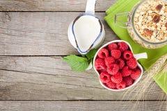 Healty breakfast with muesli, berries and milk Stock Image