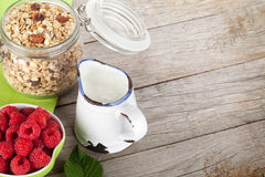 Healty breakfast with muesli, berries and milk Royalty Free Stock Photos