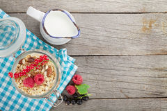 Healty breakfast with muesli, berries and milk Royalty Free Stock Photo