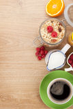 Healty breakfast with muesli, berries, orange juice, coffee and Stock Images