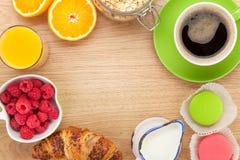 Healty breakfast with muesli, berries, orange juice, coffee and Stock Images
