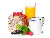 Healty breakfast with muesli, berries and orange juice Royalty Free Stock Photo
