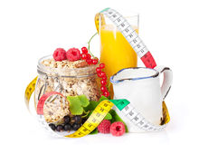 Healty breakfast with muesli, berries and orange juice Stock Image