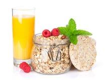Healty breakfast with muesli, berries and orange juice Stock Images