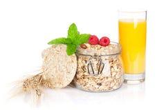 Healty breakfast with muesli, berries and orange juice Royalty Free Stock Images