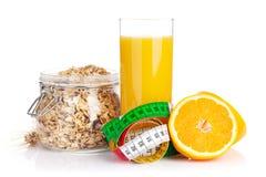 Healty breakfast with muesli, berries and orange juice Royalty Free Stock Photos