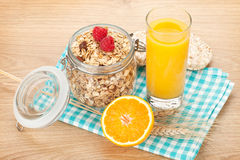 Healty breakfast with muesli, berries and orange juice Royalty Free Stock Photography