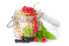 Healty breakfast with muesli and berries Royalty Free Stock Photos