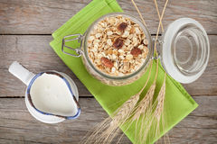 Healty breakfast with muesli and milk Royalty Free Stock Photography