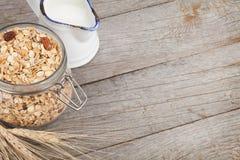 Healty breakfast with muesli and milk Stock Photo