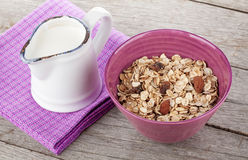 Healty breakfast with muesli and milk Stock Photos