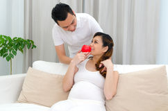 Healty eating of pregnant woman Stock Images