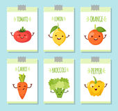 Healty food cartoon representing banners set. Banners set of healty food cartoon representing some funny vegetables Stock Photography