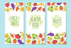 Healty food cartoon representing banners set. Banners set of healty food cartoon representing some funny vegetables Royalty Free Stock Images
